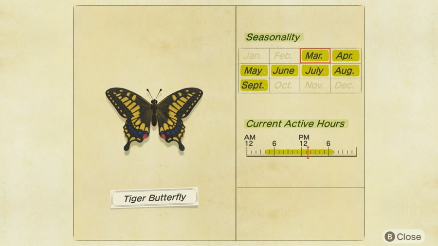 Tiger Butterfly Location Animal Crossing New Horizons