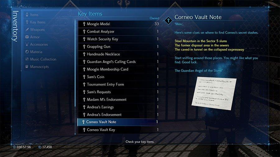 Final Fantasy 7 Remake Corneo's Secret Vault Locations Guide