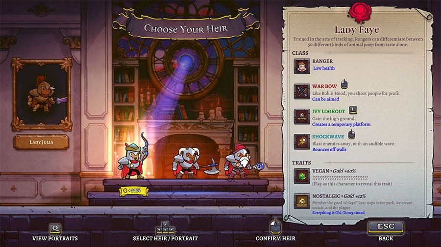 Hero Selection In Rogue Legacy 2