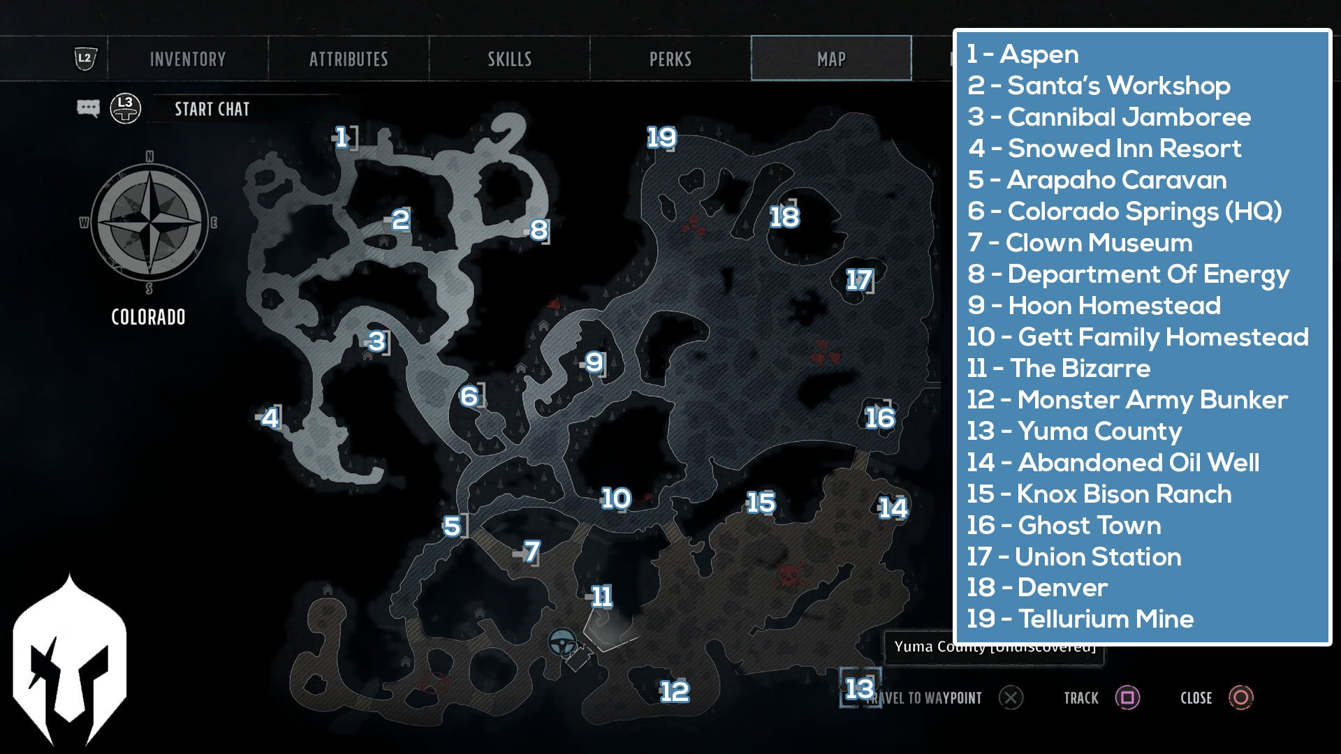 Wasteland 3 All World Map Locations