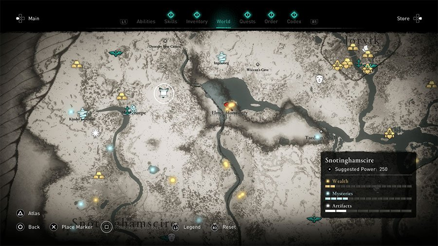 Assassins Creed Valhalla Snotinghamscire Treasure Hoard Map Guide
