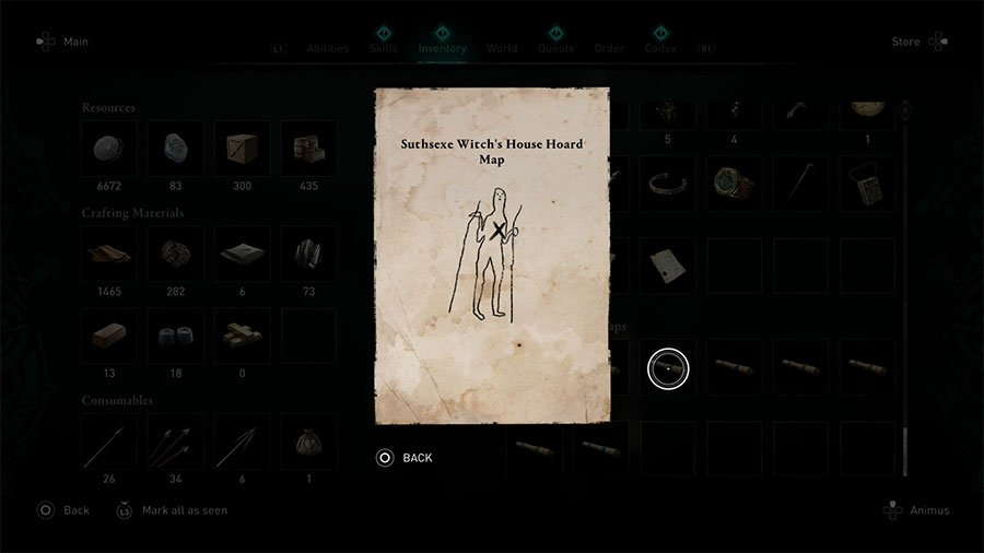 Suthsexe Witch's House Hoard Map Clue