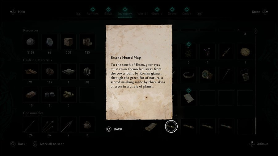 Essexe Treasure Hoard Map Clue