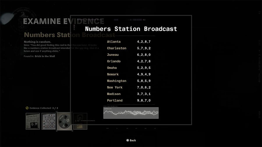 Numbers Station Broadcast clue
