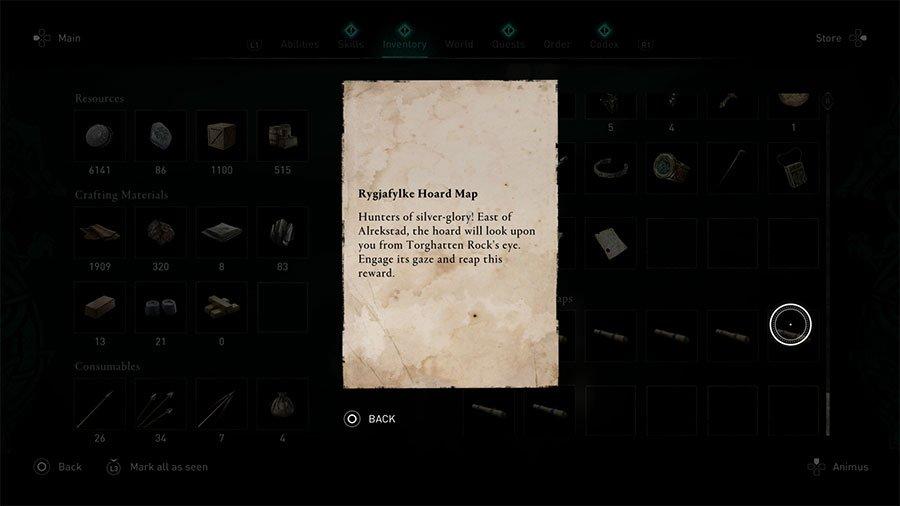 Rygjafylke Treasure Hoard Map Clue