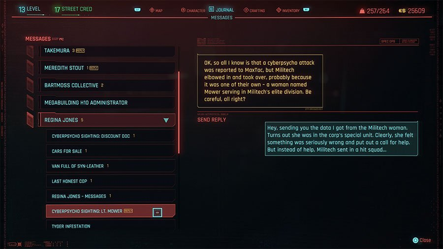 How To Send Information To Regina In Cyberpunk